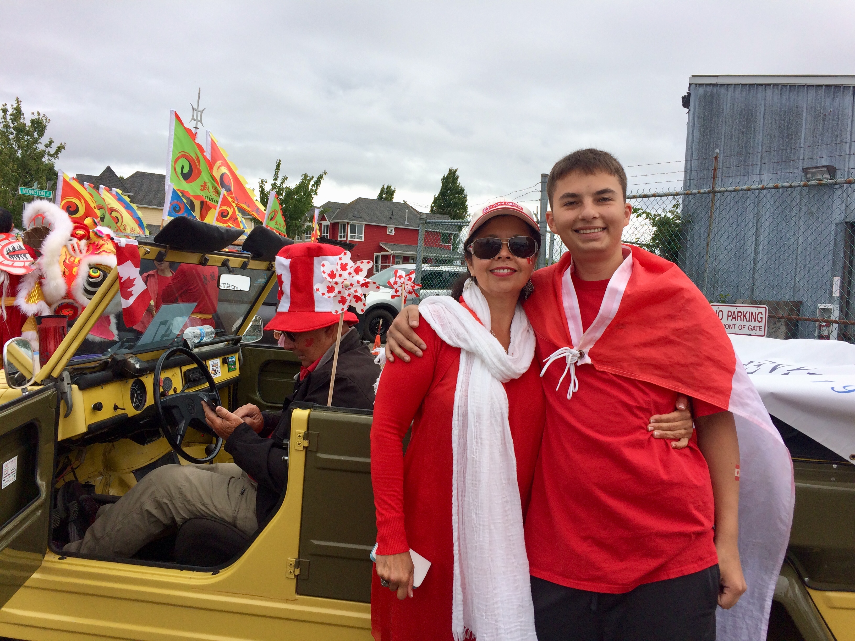 SHS Director Carmen Keitsch and her son at the Steveston Salmon Festival Parade
