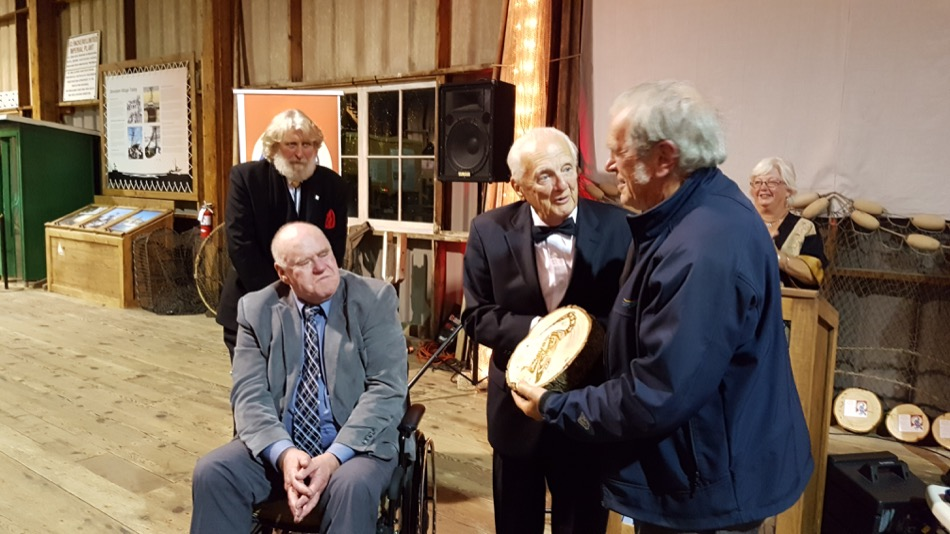 City Councillor Harold Steves presents Heritage Recognition Award to Robbie Johnson - SHS Chair Loren Slye and Gulf of Georgia Cannery Chair Dave Semple look on