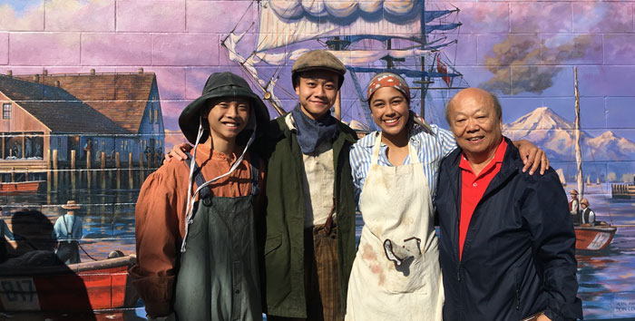 Vignettes actors with Director Michael Chiu at the Mural Unveiling