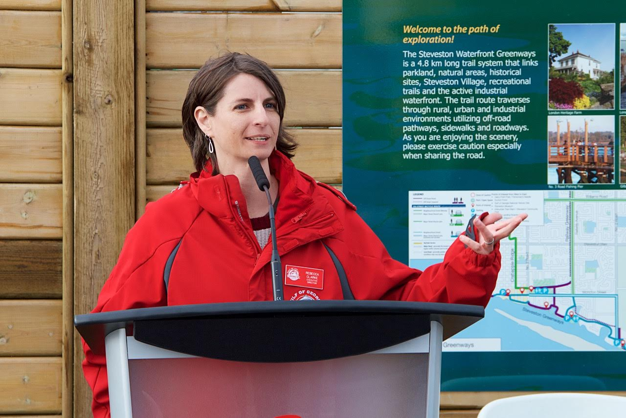 ED of the Gulf of Georgia Cannery, Rebecca Clarke speaks at the Mural Unveiling Event